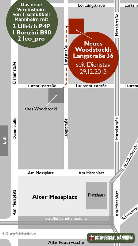 Das Woodstöckl, unser Vereinsheim, ist jetzt in der Langstraße 36 zu finden: 2 Ullrich P4P, 2 leo_pro, 1 Bonzini B90