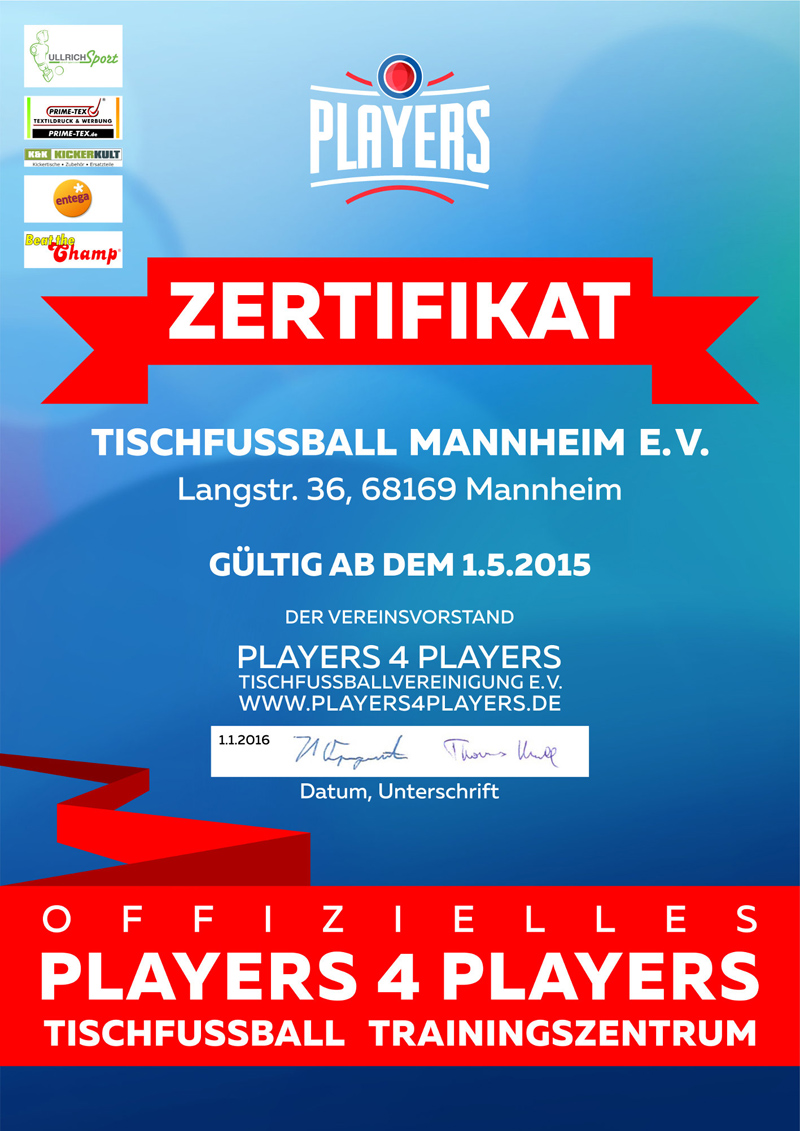Tischfußball Mannheim – Offizielles P4P Tischfußball-Trainingszentrum